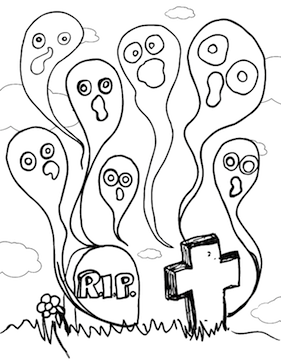 halloween graveyard coloring pages - photo#29
