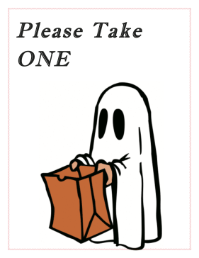 picture relating to Please Take One Sign Printable known as Halloween Sweet Indicator