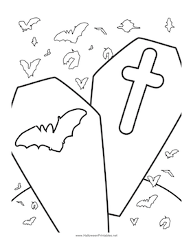 coffin cake template - halloween coffin colouring pages sketch coloring page