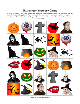 image relating to Printable Memory Games for Seniors identify Halloween Memory Match