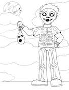 Boy Skeleton Coloring Page