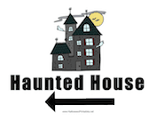 Haunted House Left Sign