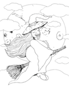 Witch Flying Coloring Page