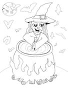 Witch Stirring Cauldron Coloring Page